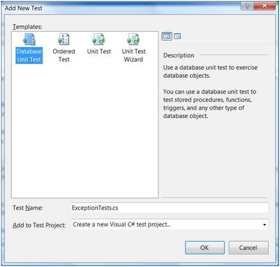 Adding a new test to a new test project in VS2008 DB pro