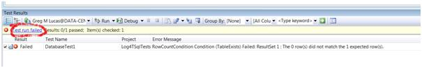 Failing Test notification in VS2008 DB pro