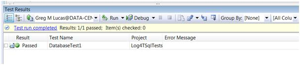 Passing a database unit test in VS2008 DB pro