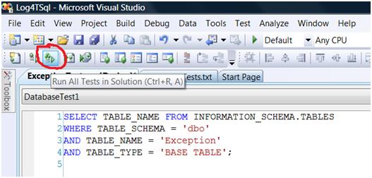 Running a database test from a button in VS2008 DB Pro