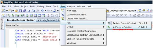 Running a database test from the menu options in VS2008 DB pro