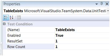 Test Conditions Window in VS2008 DB Pro