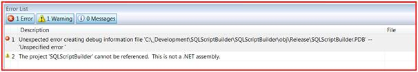 Unexpected error creating debug information file