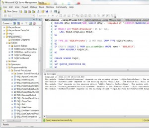 Screenshot of SQL Server Management Studio showing some of the tSQLt objects created by the release script