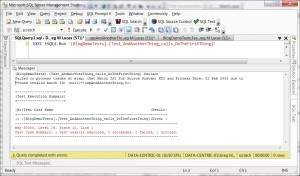Example error from tSQLt failing test
