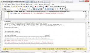Screenshot showing test error in tSQLt